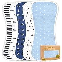 Organic Burp Cloths for Baby Boys - 5-Pack Ultra Absorbent Burping Cloth, Burp Clothes, Newborn Towel - Milk Spit Up…