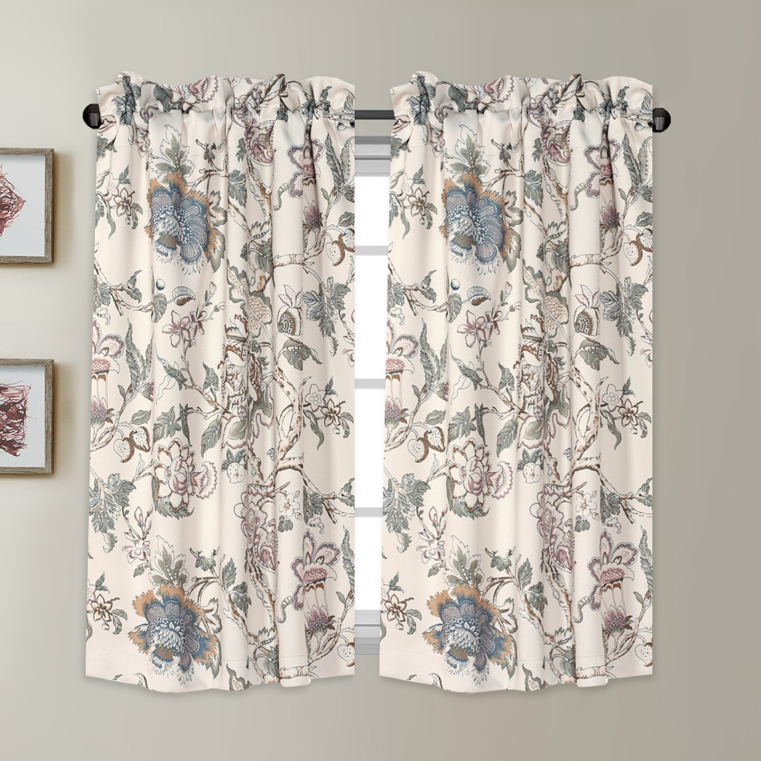 "Blackout Energy Saving Ultra Soft Casual Kitchen Curtains Rod Pocket Window Curtain Tiers for Café, Bath, Laundry, Bedroom - Vintage Floral Pattern in Sage and Brown - (58""W x 45""L Pair)"