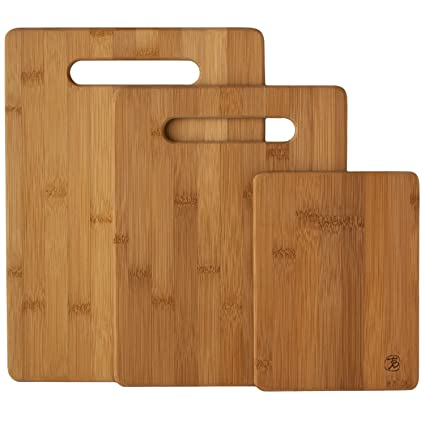 Amazoncom Totally Bamboo 3 Piece Bamboo Serving And Cutting Board