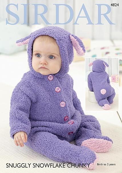 Sirdar 4824 Knitting Pattern Babys Rabbit All In One Onesie In