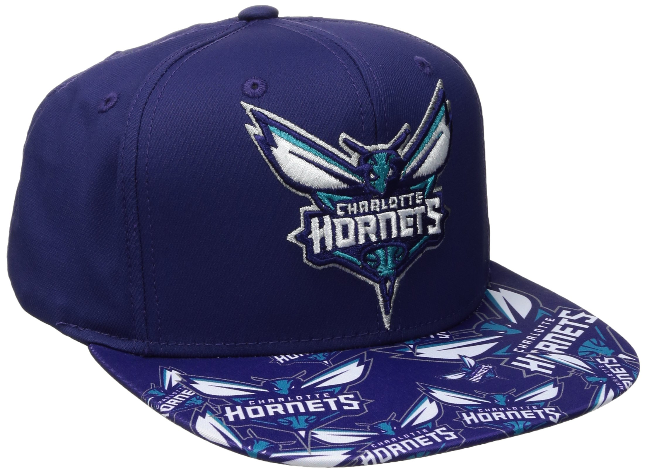 NBA Charlotte Hornets Men's Tail Sweep Flat Brim Snapback Hat, Purple, One Size by adidas