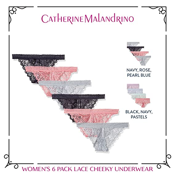 Amazon.com: Catherine Malandrino Womens 6 Pack Lace Cheeky Underwear: Clothing