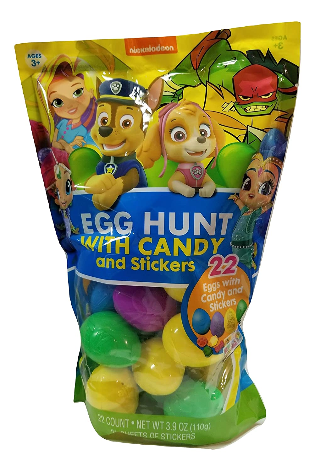 Frankford Nickelodeon Paw Patrol,Sunnyday Shimmer /& Shine and Teenage Ninja Turtle Easter Egg Hunt Eggs Filled with Candy and Stickers!