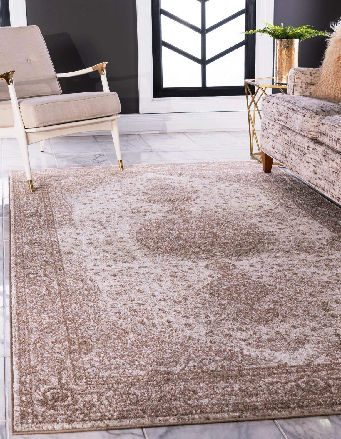 Unique Loom Bromley Collection Vintage Traditional Medallion Border Light Brown Area Rug 3 3 x 5 3