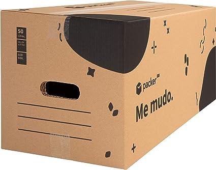 Packer PRO - Pack 12 Cajas Carton para Mudanzas y Almacenaje con Asas 600x300x275mm: Amazon.es: Oficina y papelería