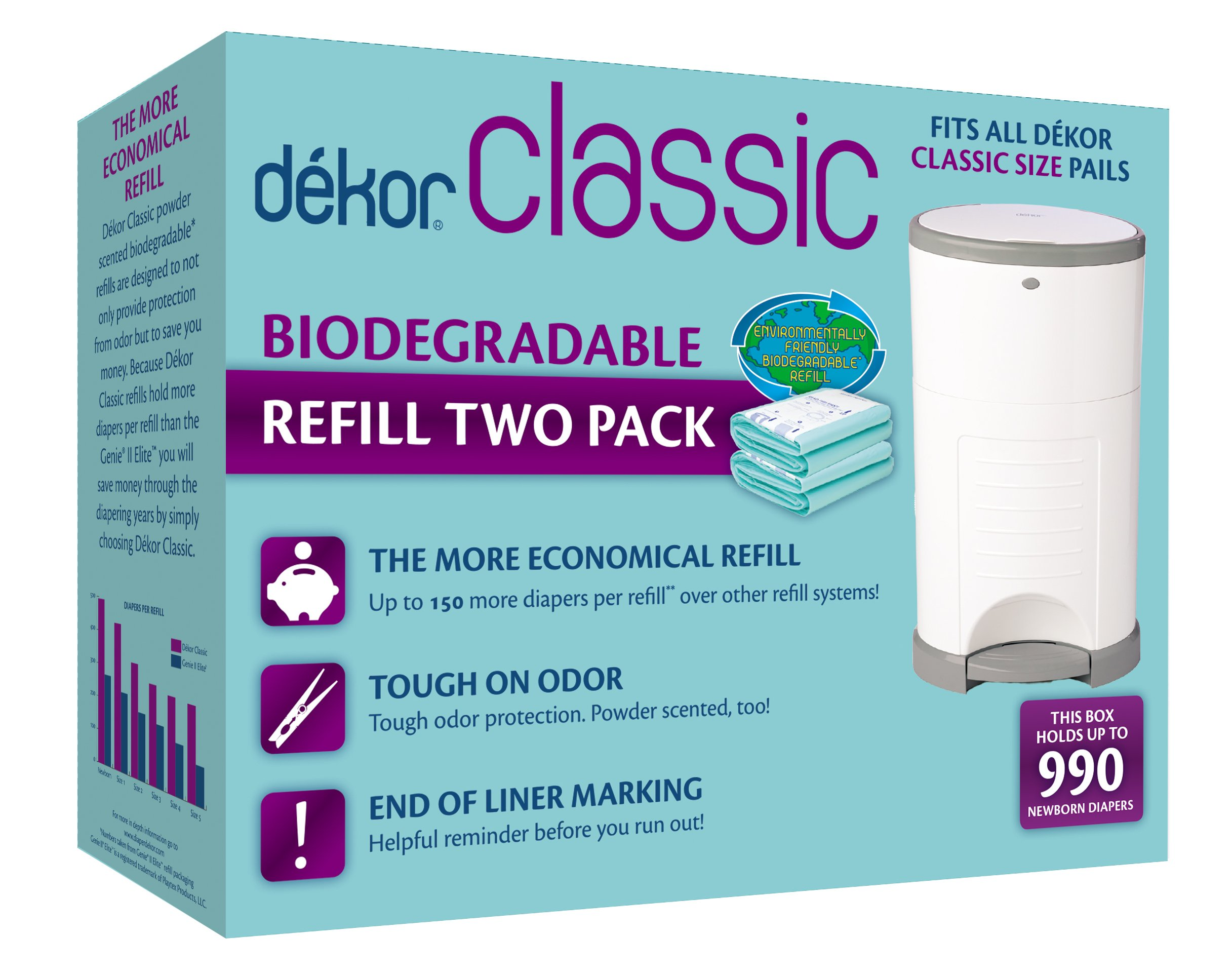 Dekor Classic Diaper Pail Biodegradable Refills | Most Economical Refill System | Quick & Easy to Replace | No Preset Bag Size | Exclusive End-of-Liner Marking | Baby Powder Scent | 2 Count