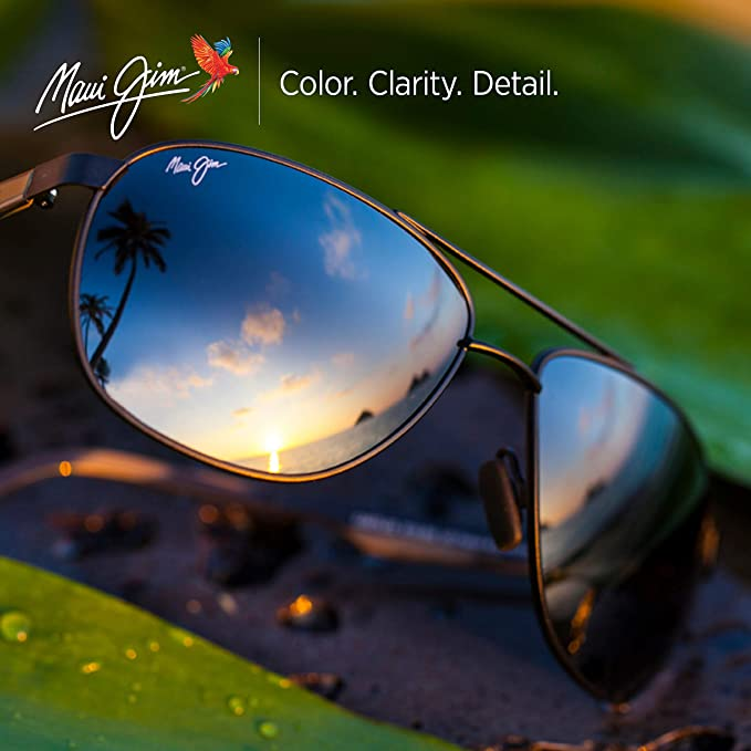 3b25a35154ee Amazon.com: Maui Jim Castles 728-2M | Polarized Matte Black Aviator Frame  Sunglasses, with with Patented PolarizedPlus2 Lens Technology: Maui Jim:  Clothing