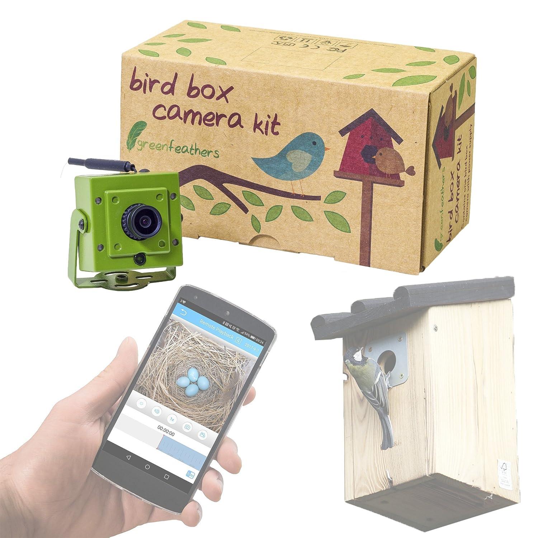 Caméra WiFi Bird Box Green Feathers - HD avec IR, Enregistrement MicroSD, Vue Directement sur Téléphone Mobile ou Tablette SpyCameraCCTV NCIP9WFGB