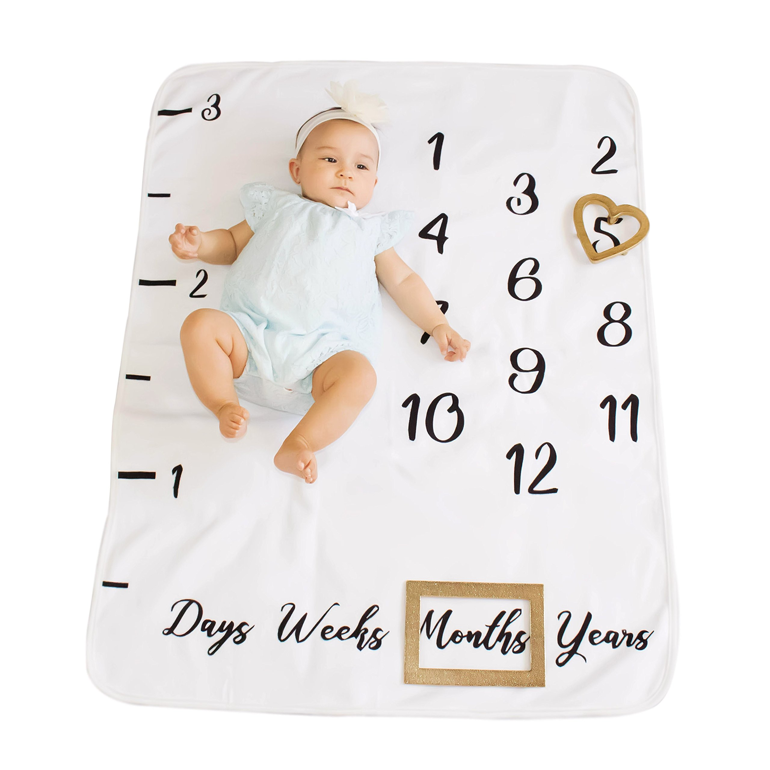 Baby Milestone Monthly Blanket | Premium Thick Fleece for Newborn, Toddler, Girl or Boy | Photography Backdrop for Pictures | Free Photography eBook | Baby Shower Gift Backdrop for Moms.