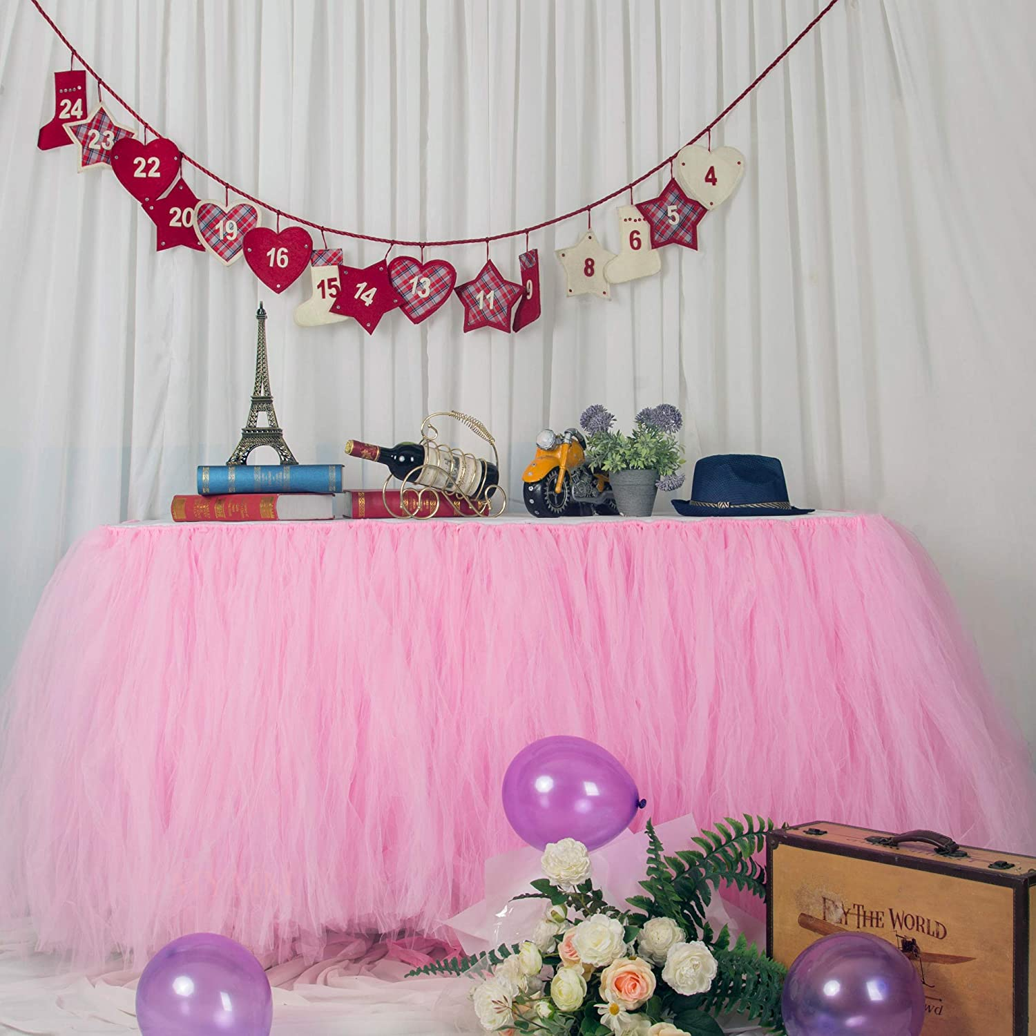Bar MYMM Table Skirt Blue Valentines Day Christmas for Baby Shower Romantic Tulle desk gauze Prom Wedding Birthday Snowflake Wonderland Tutu Table Cloth Party Table Decoration