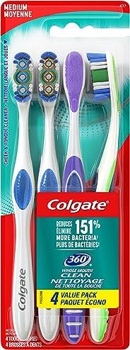 Colgate 360 Toothbrush, Medium, 4 Count