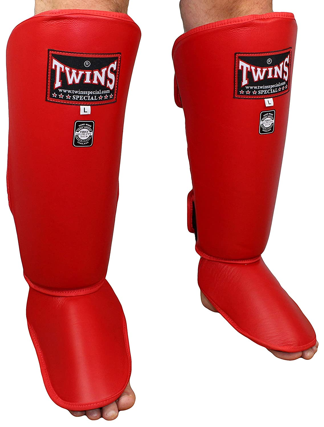 Twins SpecialクラシックShin Guard B007CBP38E Large|レッド レッド Large