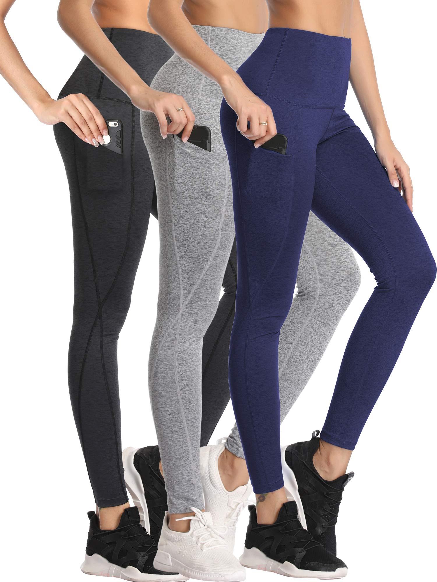 Neleus Women's 3 Pack Yoga Pants Tummy Control High Waist Workout Leggings,Dark Grey/Grey/Navy Blue,S by Neleus