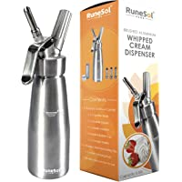 Cream Whipper Dispenser | Whipped Cream Dispenser + 3 Stainless Steel Decorating Nozzles | Makes Whip Cream, Ice Cream & More| Reinforced Aluminium Threads,Uses N20 Cartridges,Not Included