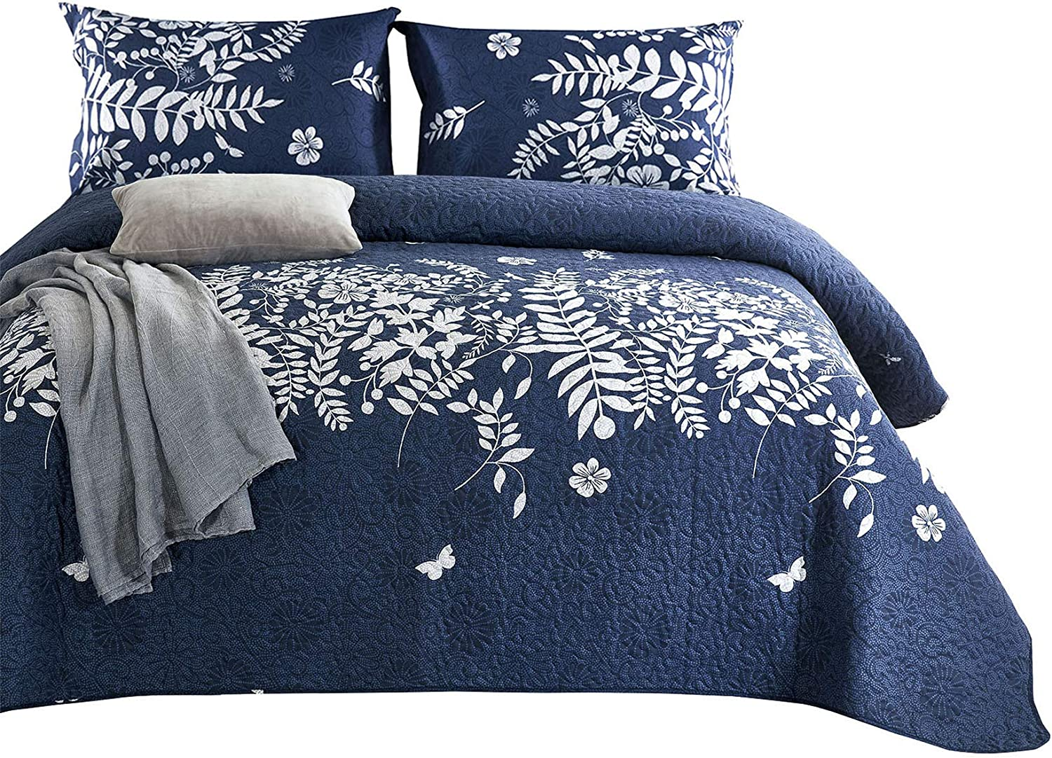 Wake In Cloud - Navy Blue Quilt Set, Gray Grey Floral Flowers Tree Leaves Modern Pattern Printed, Soft Microfiber Bedspread Coverlet Bedding