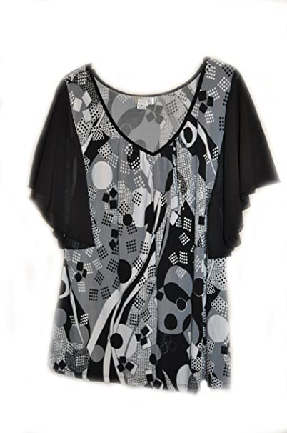 b2bf5ba3f7e58a Casual Land Women's Chiffon Flutter Sleeve Blouse (XL, Black White Grey Geo  Print)