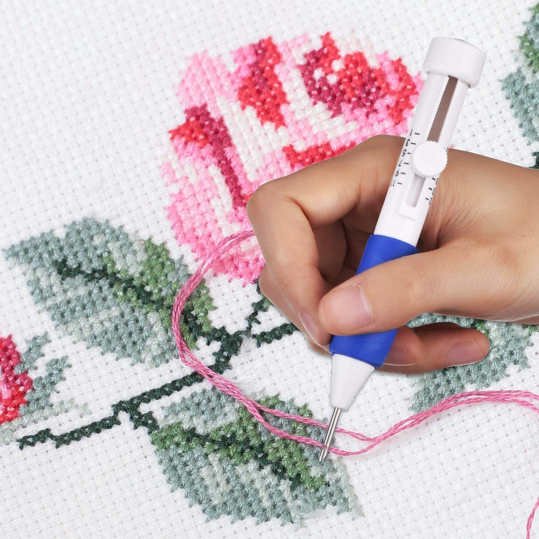 ... herramienta de artesanía de aguja de punzonado de bordado que incluye 50 hilos de color para bordadoras de hilo Herramienta de costura de ...
