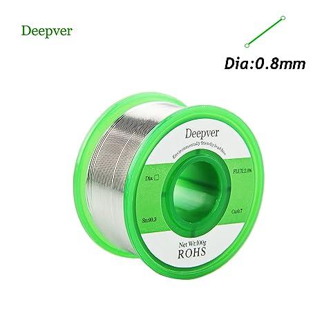 Deepver 0.8mm 100g Cable de soldadura sin plomo con núcleo de resina, (Sn