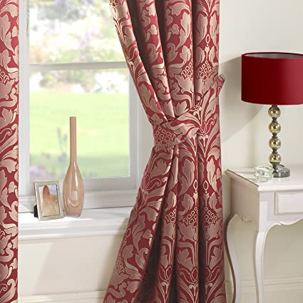 Just Contempo Luxury Curtain 9924, Cortinas (damasco, con ojales), Rojo,