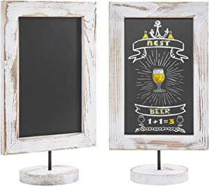 MyGift 12-Inch Shabby Whitewashed Wood Framed Tabletop Memo & Message Chalkboard, Set of 2