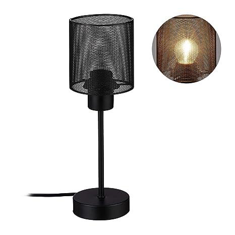 Relaxdays Lámpara de mesa, Luz de lectura, Industrial, E27 ...