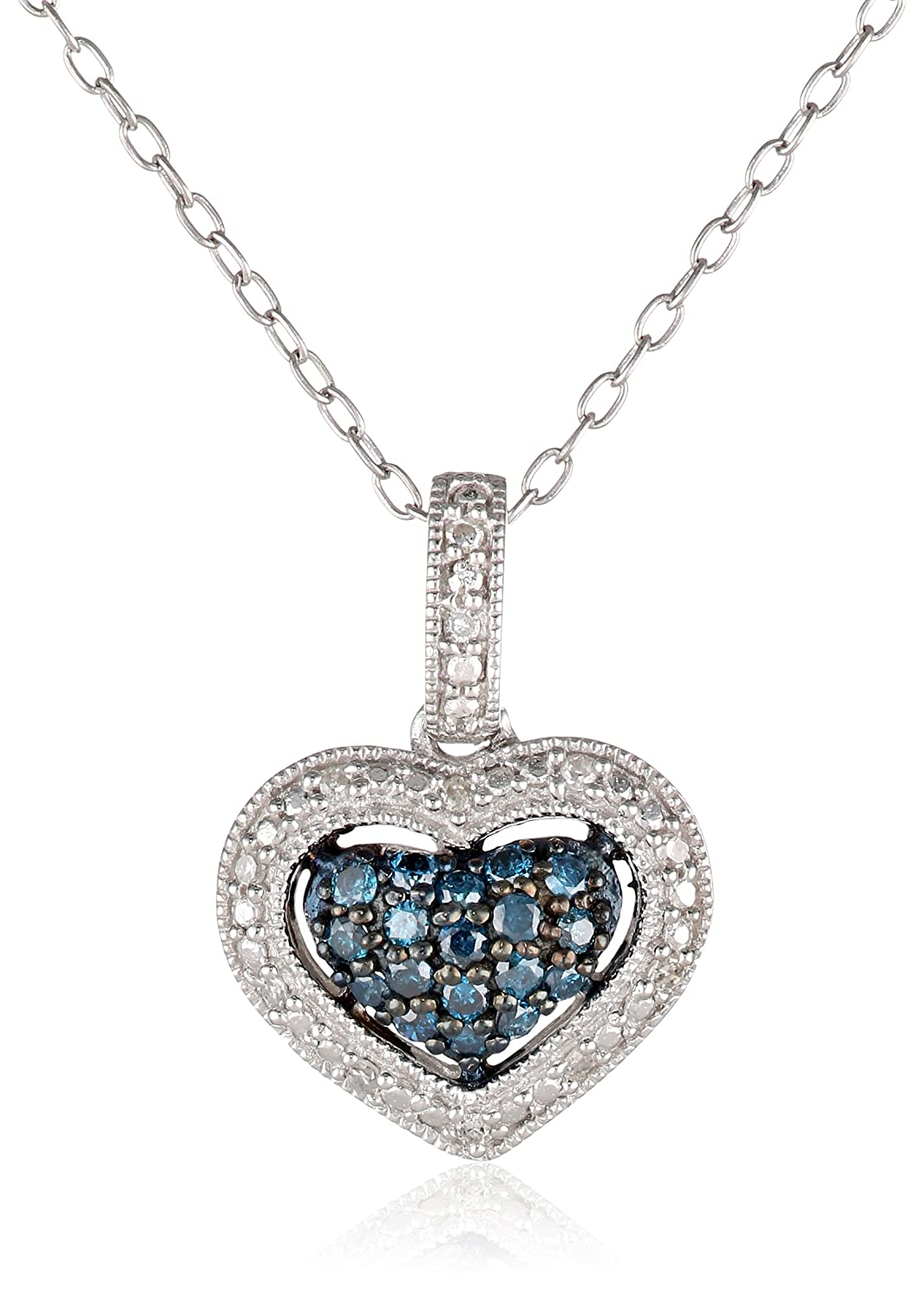 Black Rhodium Sterling Silver Blue and White Diamond Heart Pendant Necklace (0.25 Cttw, G-H Color, I1-I2 Clarity), 18""