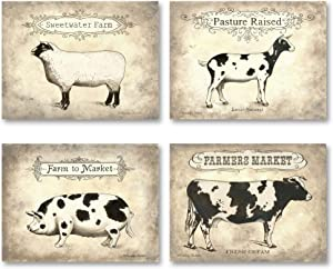 Vintage Farm to Table Country Animals; Cow, Goat, Sheep and Pig; Country Rustic; Four 10x8in Poster Prints