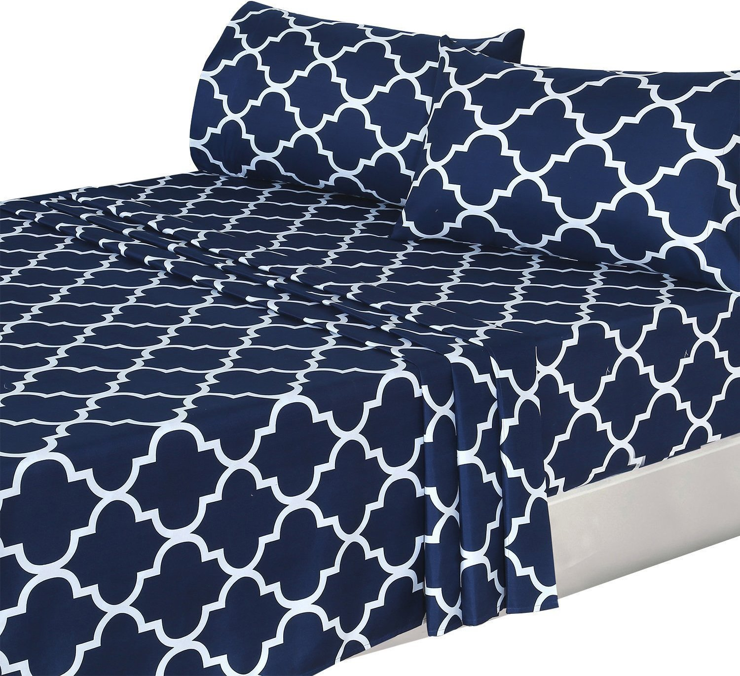 Utopia Bedding 3 Piece Bed Sheets Set (Twin, Navy) - 1 Flat Sheet 1 Fitted Sheet and 1 Pillow Case - Hotel Quality Brushed Velvety Microfiber - Luxurious & Extremely Durable