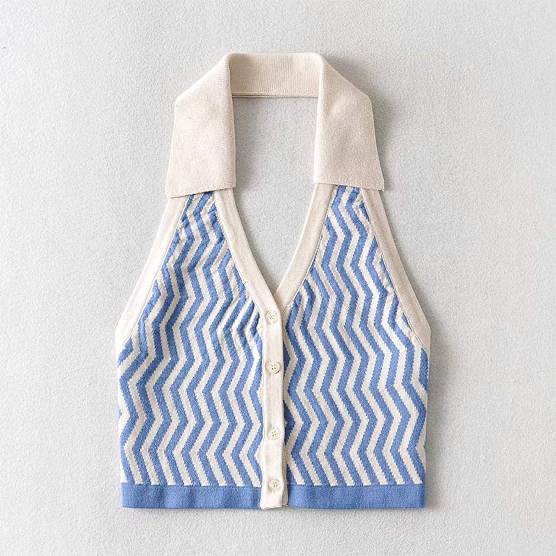 Ladies Fashion Striped Street Wear Y2k Halter Knit Vest Women Sexy Halter Slim Clothing Women Vest