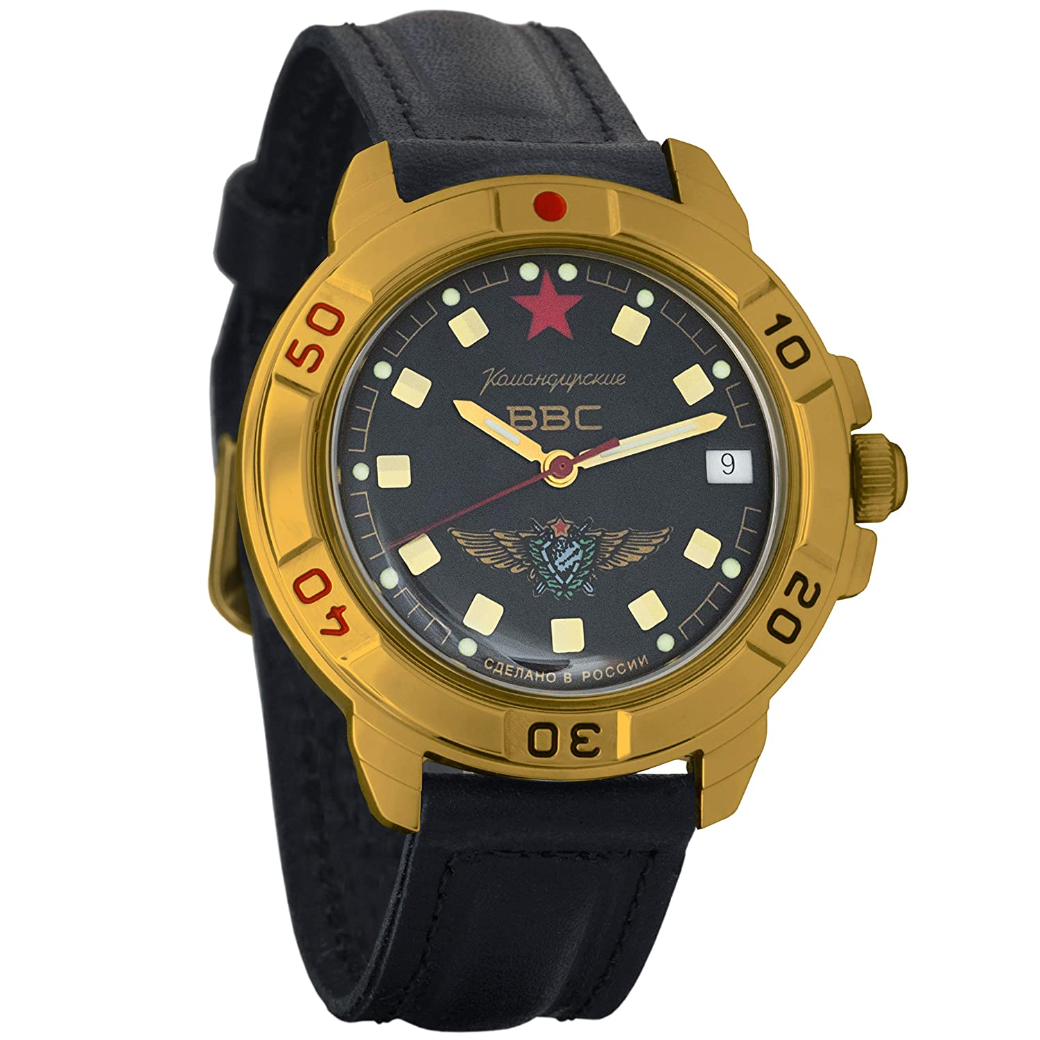 Amazon.com: Vostok Komandirskie Russian Air Forces Army Mechanical Mens Military Commander Wrist Watch #439313 (Black): Watches