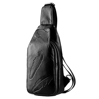73a33727e1e8 LXFF Genuine Leather Sling Bag Chest Pack Crossbody Backpack For Men and  Women Travel Hiking Daypack