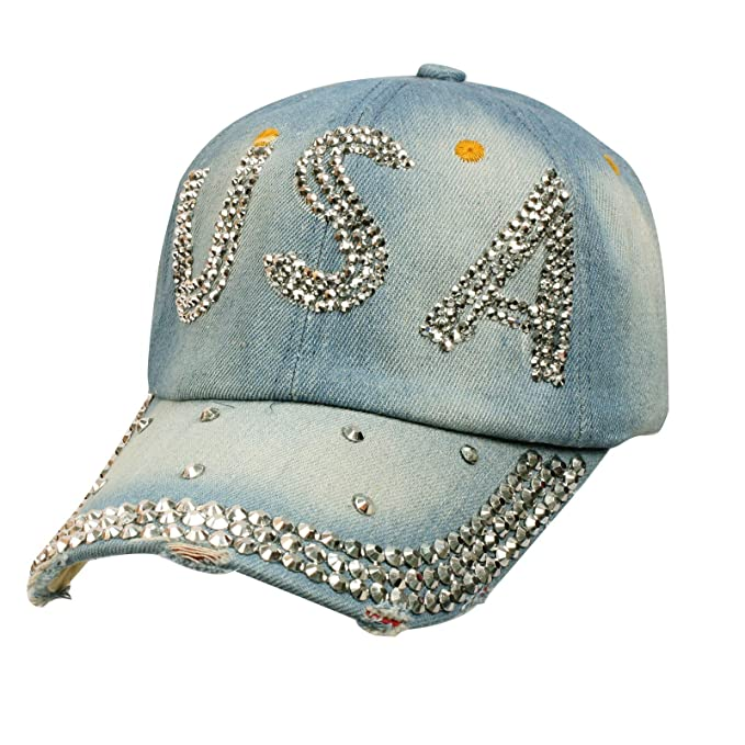 womens baseball hats with bling caps ladies denim jean adjustable cap hat blue amazon men clothing store