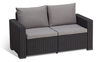 Two Seater Rattan Garden Furniture Allibert by keter california 2 seater rattan sofa outdoor garden allibert by keter california 2 seater rattan sofa outdoor garden furniture graphite with grey cushions workwithnaturefo