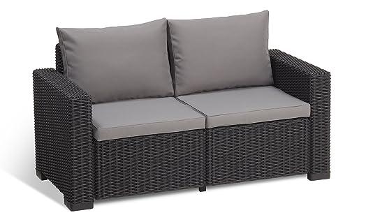 Rattan sofa outdoor  Allibert by Keter California 2 Seater Rattan Sofa Outdoor Garden ...
