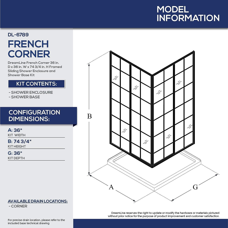 DreamLine French Corner 36 in  x 36 in  Framed Sliding Shower Enclosure in  Satin Black with Corner Drain Black Acrylic Base Kit, DL-6789-09