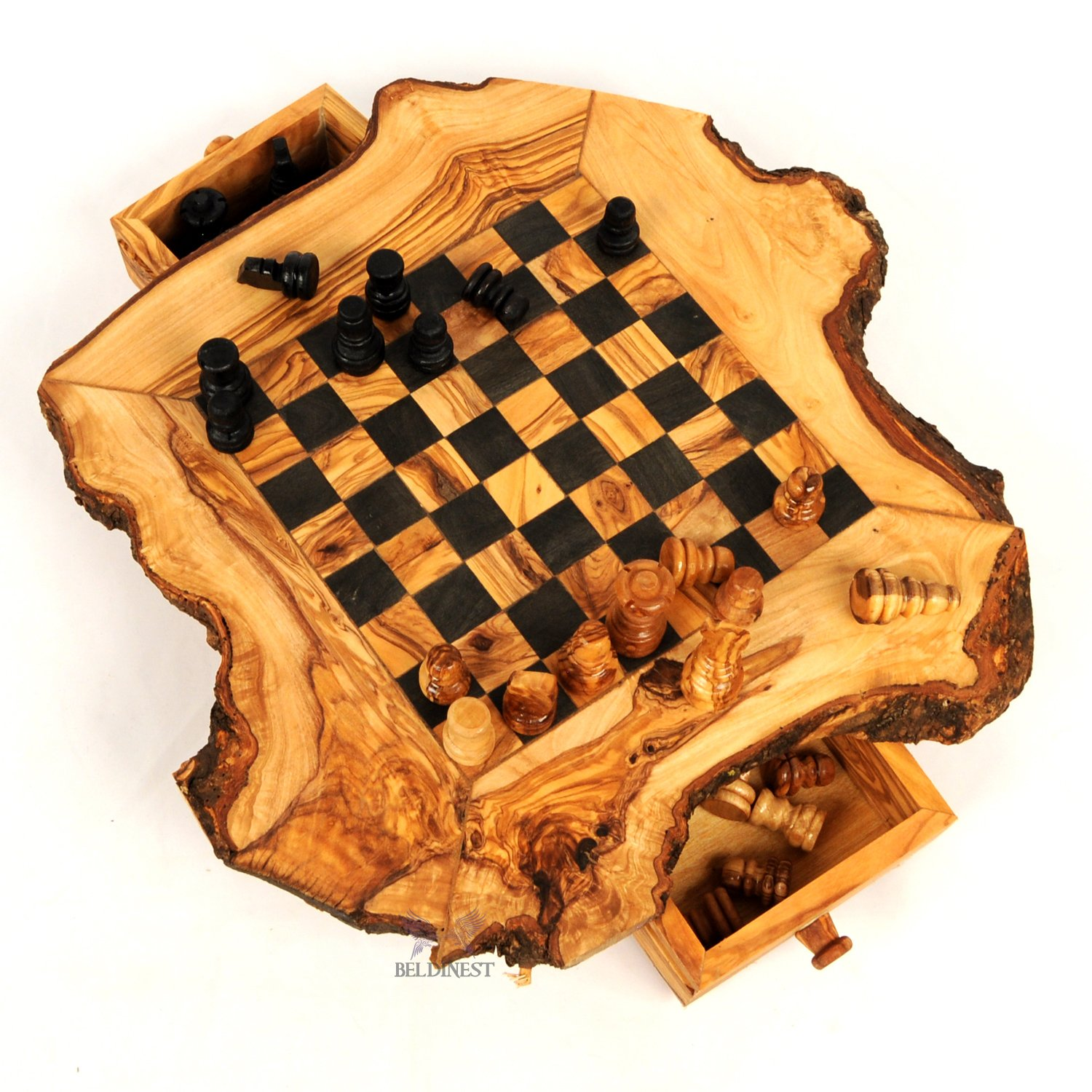 Olive Wood Chess Game Rustic Handmade by BeldiNest