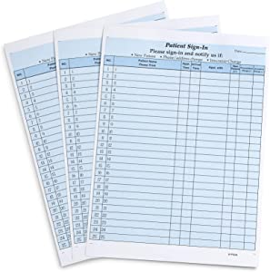 Blue Summit Supplies Patient Sign in Forms, Carbonless 3 Part Forms with Peel Away Adhesive Labels, Hippa Compliant for Privacy in Doctor, Medical, Dental Office, Blue, 25 Pack