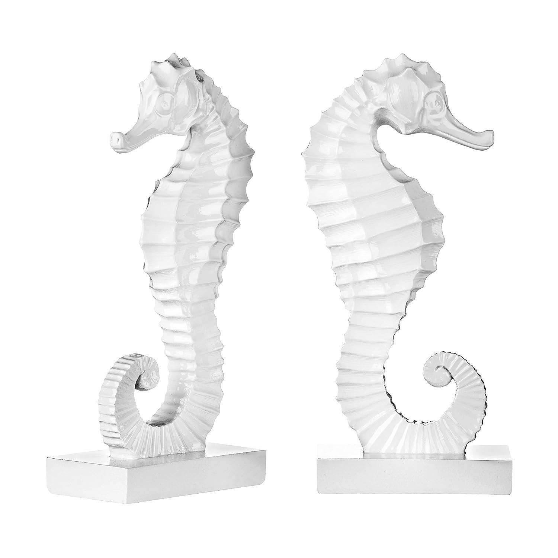 Premier Housewares Buchstützen, Seepferdchen-Design, 2er-Set, Weiß Weiß 2er-Set, 995c48