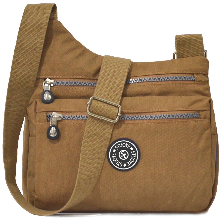 STUOYE Nylon Multi-Pocket Crossbody Purse Bags for Women Travel Shoulder Bag (Z187 Camel)