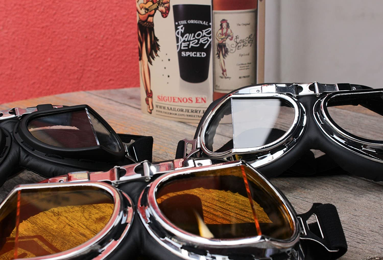 Gafas de motorista Marco Plateado Cristal Transparente Transparente