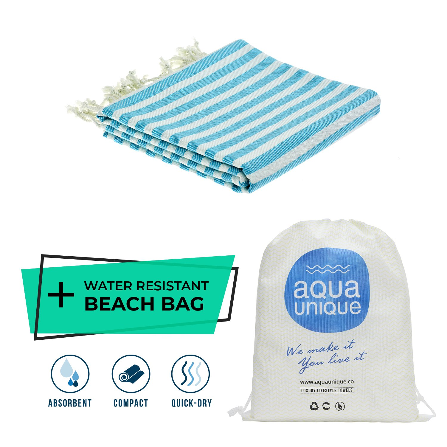 Turkish Handloomed Towel By Aqua Unique –Pre-Washed, Fashionable & Luxurious Towel For The Beach, Spa, Hotel, Festivals & Traveling   100% Pure Turkish Cotton & Oeko-Tex Certified (Striped Trq)