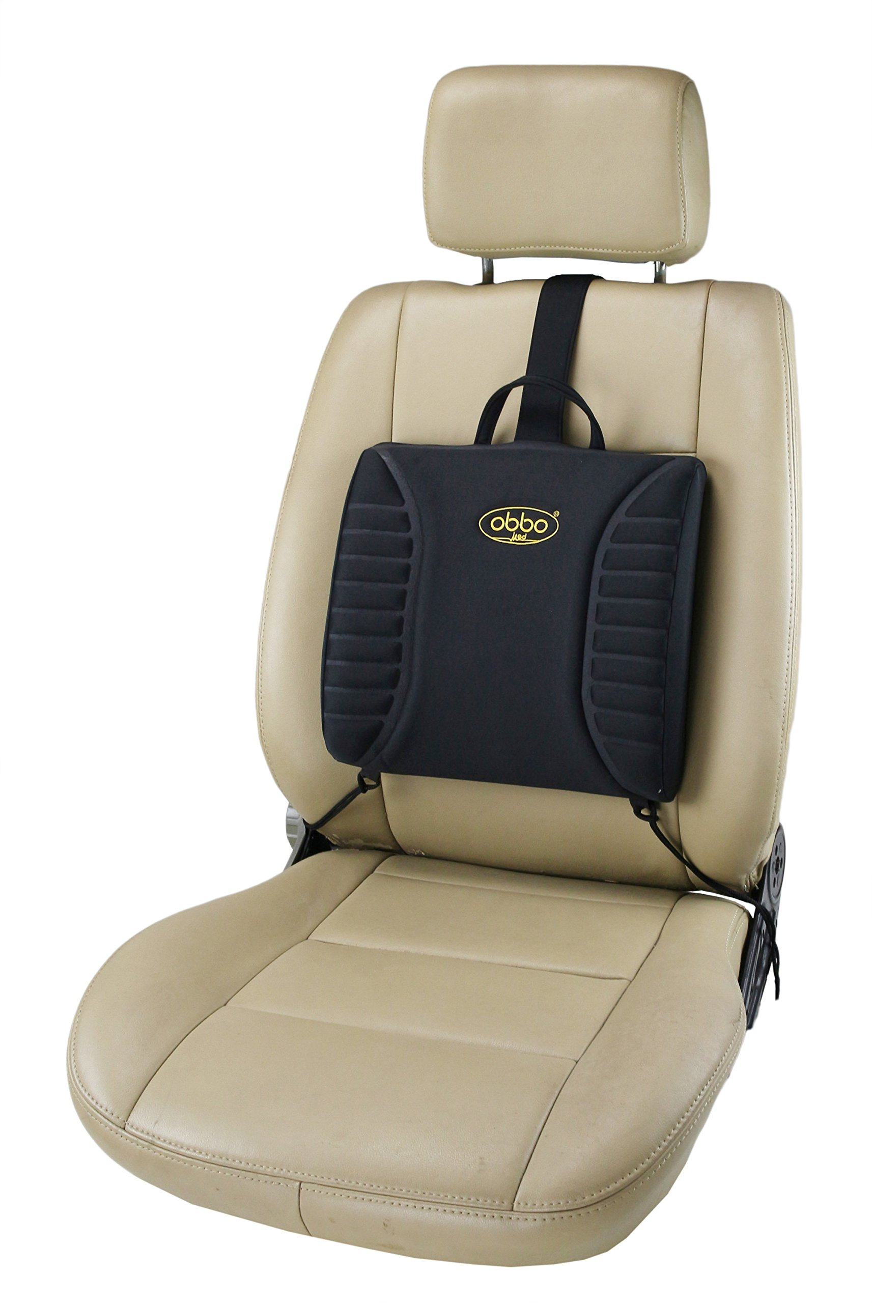 ObboMed SU-3120S Travel Pro-Lumbar Seat Cushion, Support Back/Waist for Long Drive/Sitting, Portable, Lightweight with Easy Positioning Counterweight, Special Thickness for Car, Automobile, Vehicle