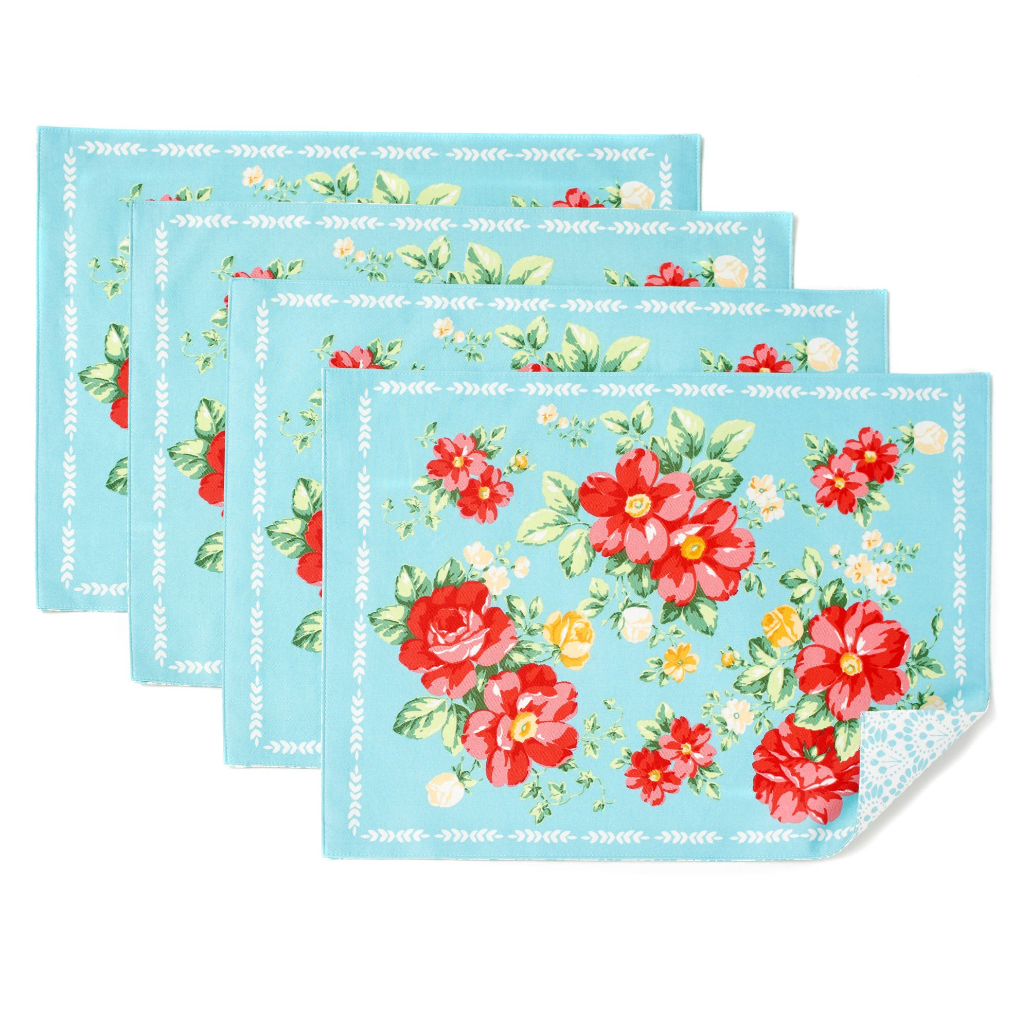 The Pioneer Woman Vintage Floral Design Placemat Set of 4, Reversible by Pioneer Woman (Image #1)