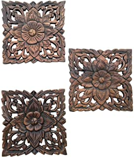 amazon com wood carved wall art panels large round wood wall decor