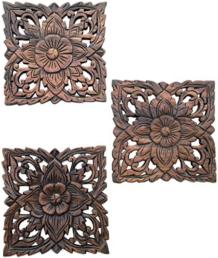 Greatest Amazon.com: Asiana Home Decor Carved Wood Wall Plaques. Floral  II87