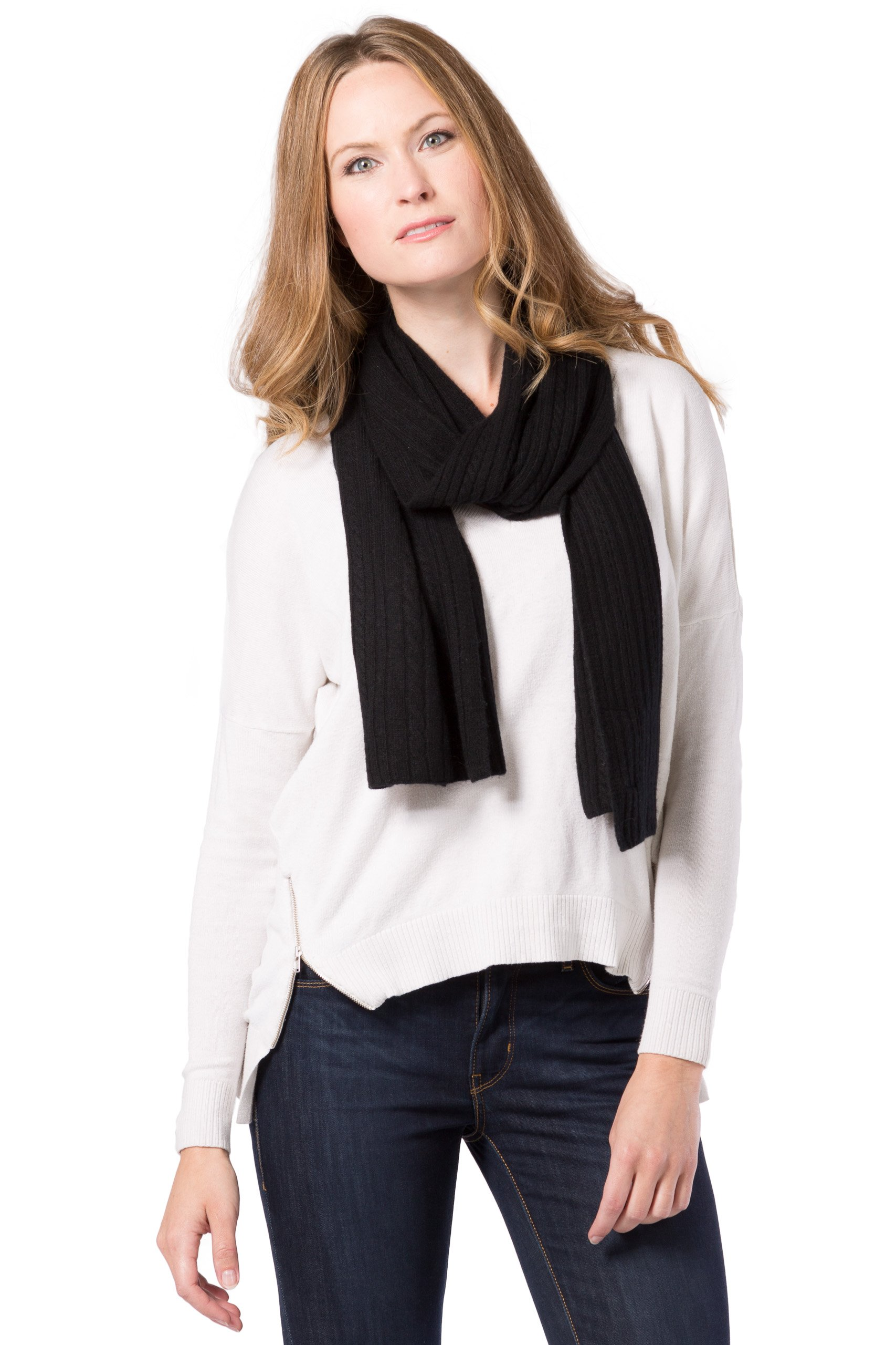 Fishers Finery Women's Cashmere Cable Knitted Scarf; Christmas Gift (Black)
