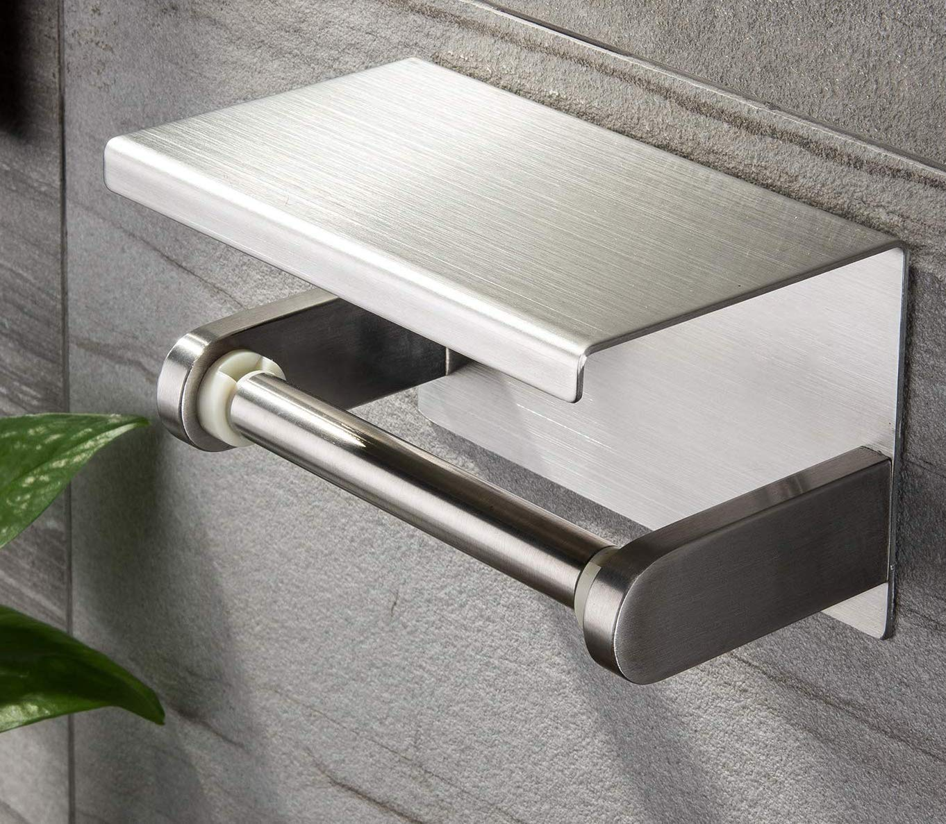 YIGII Toilet Paper Holder with Shelf - Stainless Steel Toilet Roll Holder Self Adhesive or Wall Mounted for Bathroom by YIGII