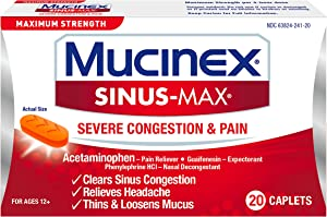 Mucinex Sinus-Max Max Strength Severe Congestion & Pain Caplets, 20ct