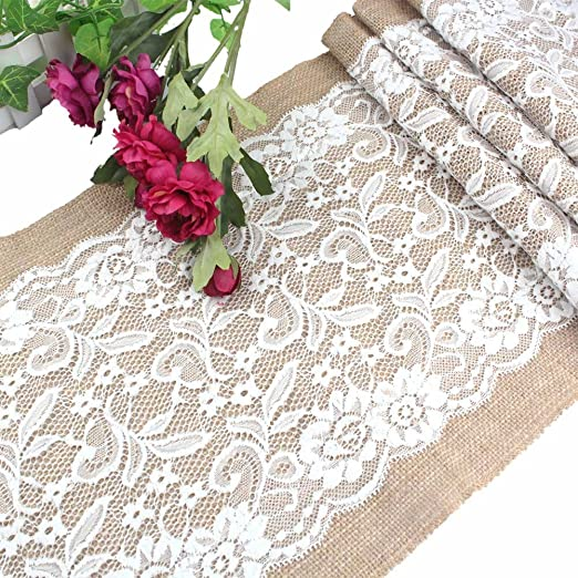 Christmas Tablescape Decor - Burlap & Vintage Lace Table Runner