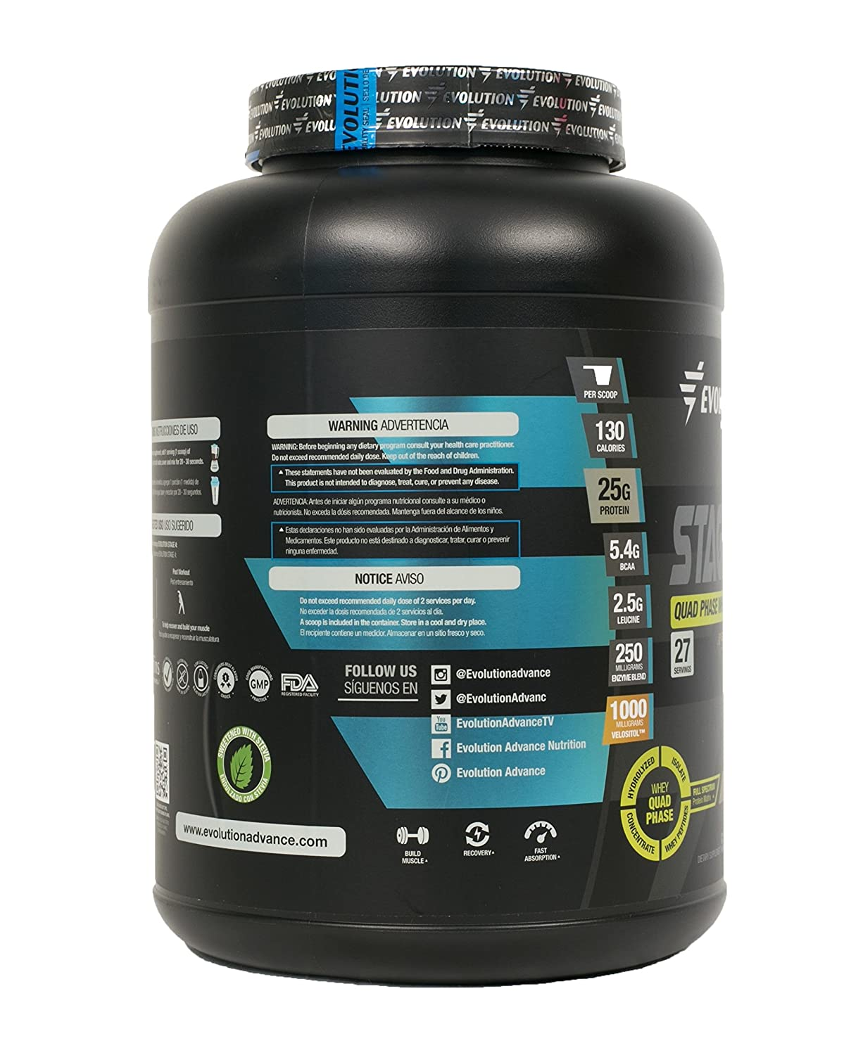 Amazon.com: Evolution Advance Nutrition STAGE 4 QUAD PHASE WHEY PROTEIN MATRIX (Hydrolyzed Whey Protein, Whey Protein Isolate, Whey Protein Concentrate and ...